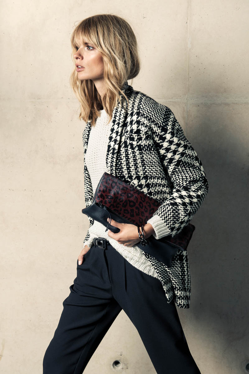 mango winter catalog6 Julia Stegner Wears the Menswear Trend for Mangos Winter Catalogue