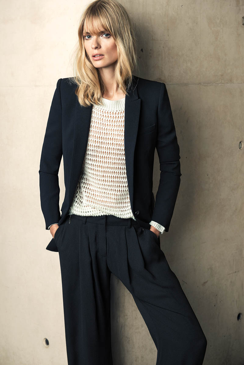 mango winter catalog7 Julia Stegner Wears the Menswear Trend for Mangos Winter Catalogue