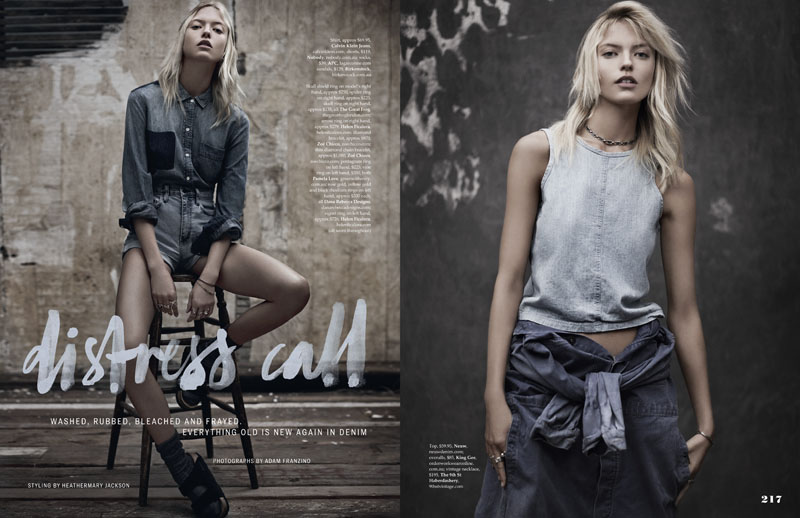 martha hunt model1 Martha Hunt Poses in Denim for Adam Franzino in Elle Australia Shoot