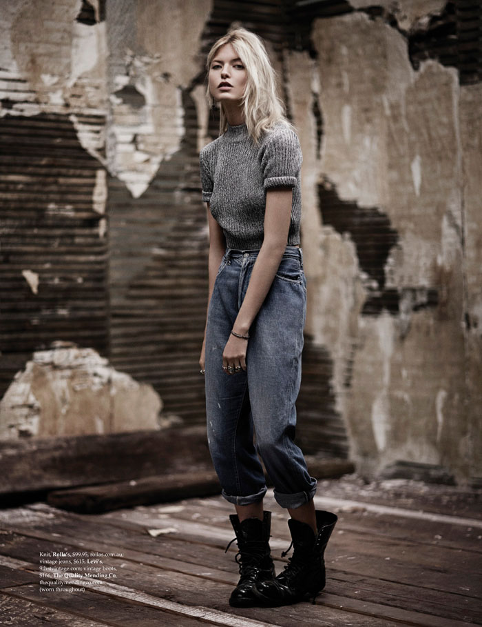 martha hunt model2 Martha Hunt Poses in Denim for Adam Franzino in Elle Australia Shoot