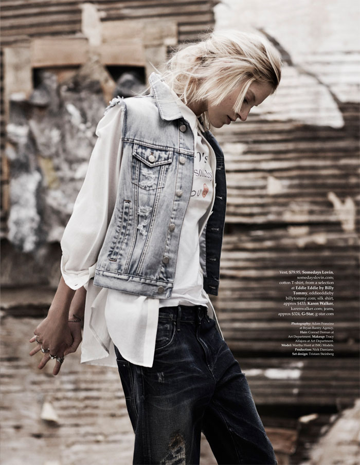 martha hunt model5 Martha Hunt Poses in Denim for Adam Franzino in Elle Australia Shoot
