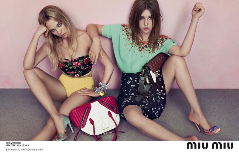 miu miu resort ad1 800x533 Miu Miu Enlists Léa Seydoux & Adèle Exarchopoulos for Resort 2014 Ads