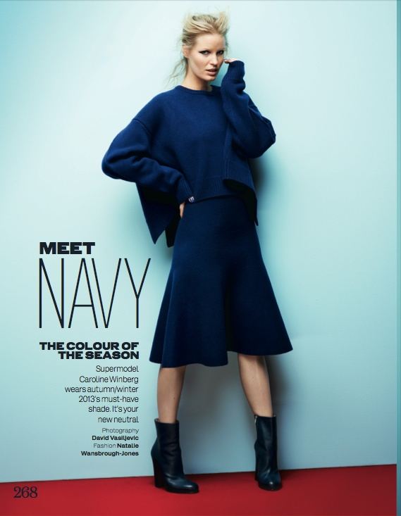 navy fashion1 Caroline Winberg Dons Navy Looks for Elle UK by David Vasiljevic