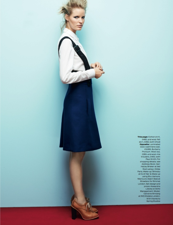 navy fashion10 Caroline Winberg Dons Navy Looks for Elle UK by David Vasiljevic