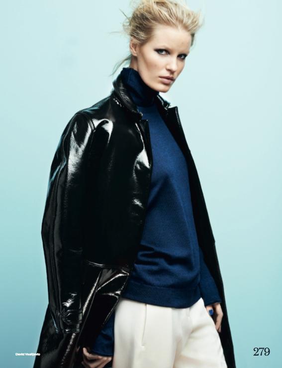 Caroline Winberg Dons Navy Looks for Elle UK by David Vasiljevic