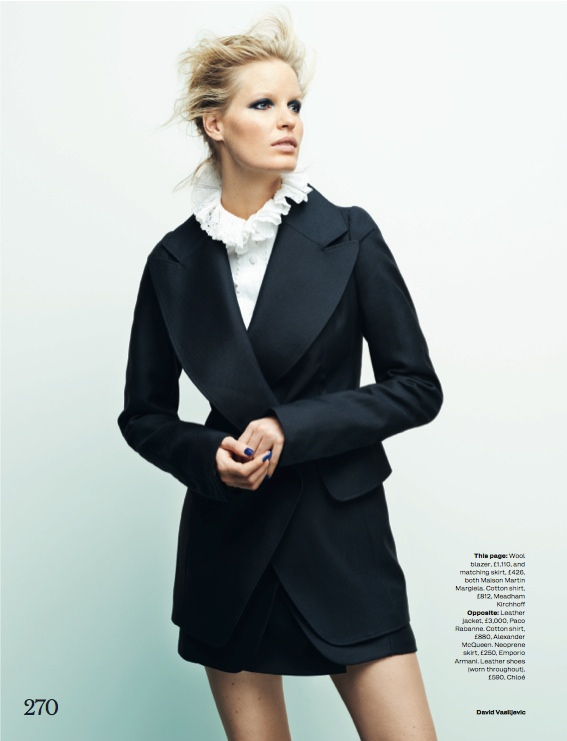navy fashion12 Caroline Winberg Dons Navy Looks for Elle UK by David Vasiljevic
