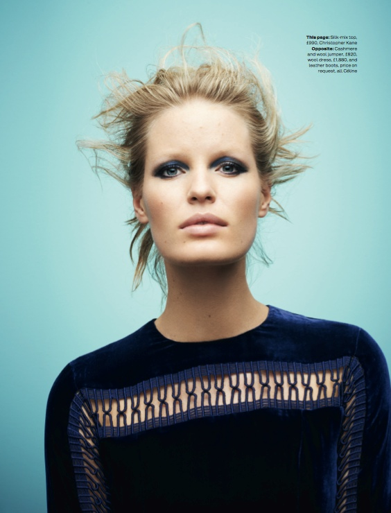 navy fashion2 Caroline Winberg Dons Navy Looks for Elle UK by David Vasiljevic
