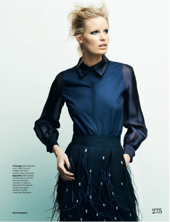 navy fashion3 Caroline Winberg Dons Navy Looks for Elle UK by David Vasiljevic