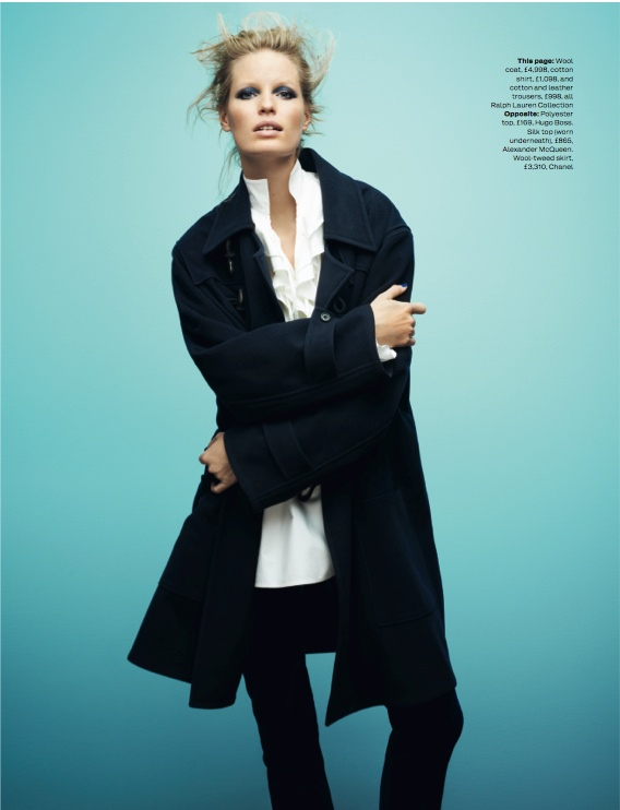 navy fashion4 Caroline Winberg Dons Navy Looks for Elle UK by David Vasiljevic