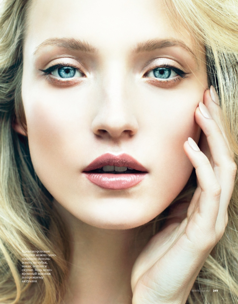 Alek Alexeyeva Is a 60s Girl for Nikolay Biryukov in Elle Russia Beauty Spread