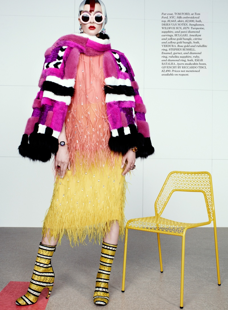 rainbow catherine servel11 Zen Sevastyanova Gets Colorful for Elle October 2013 by Catherine Servel