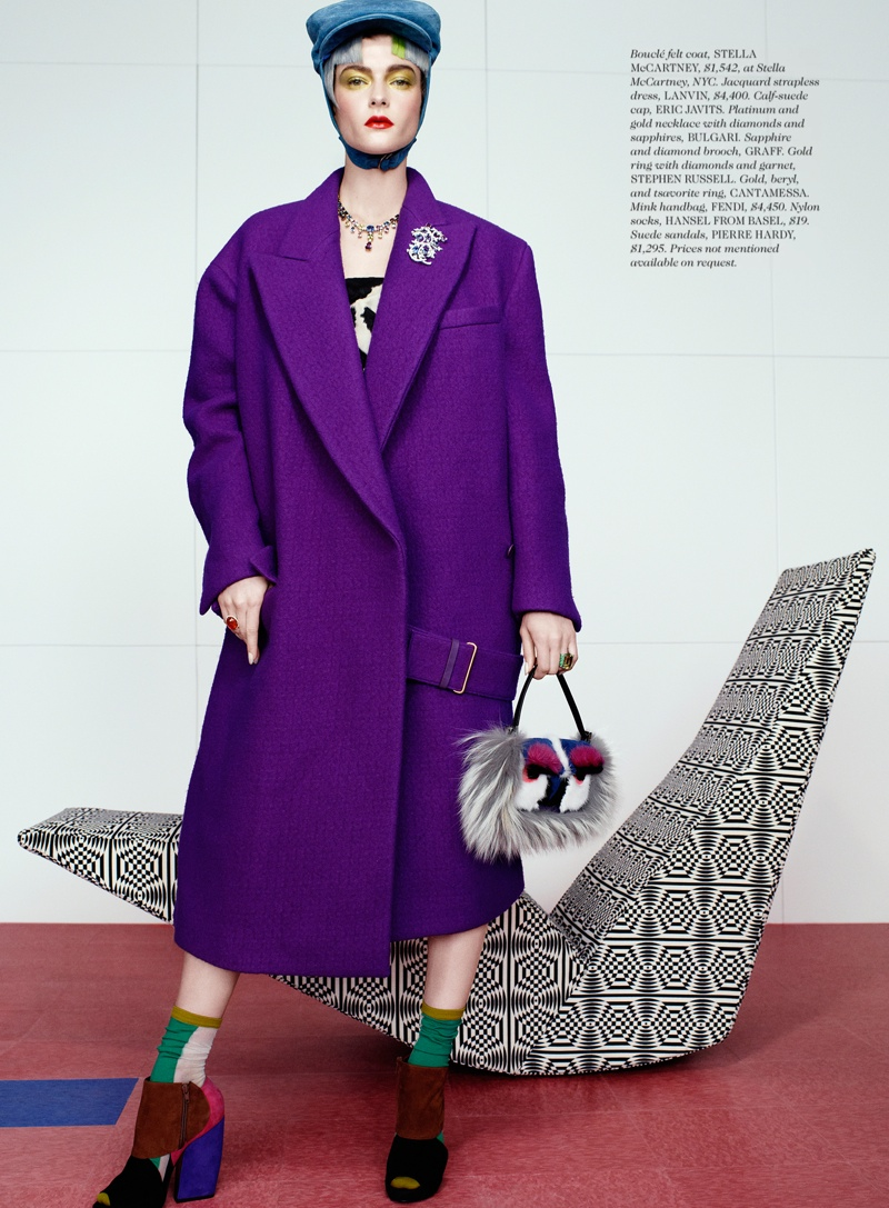 rainbow catherine servel3 Zen Sevastyanova Gets Colorful for Elle October 2013 by Catherine Servel