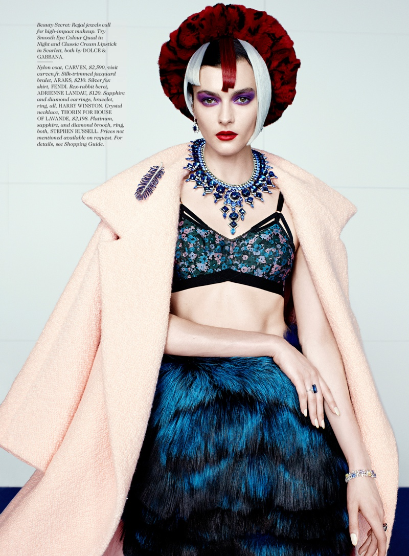 rainbow catherine servel7 Zen Sevastyanova Gets Colorful for Elle October 2013 by Catherine Servel