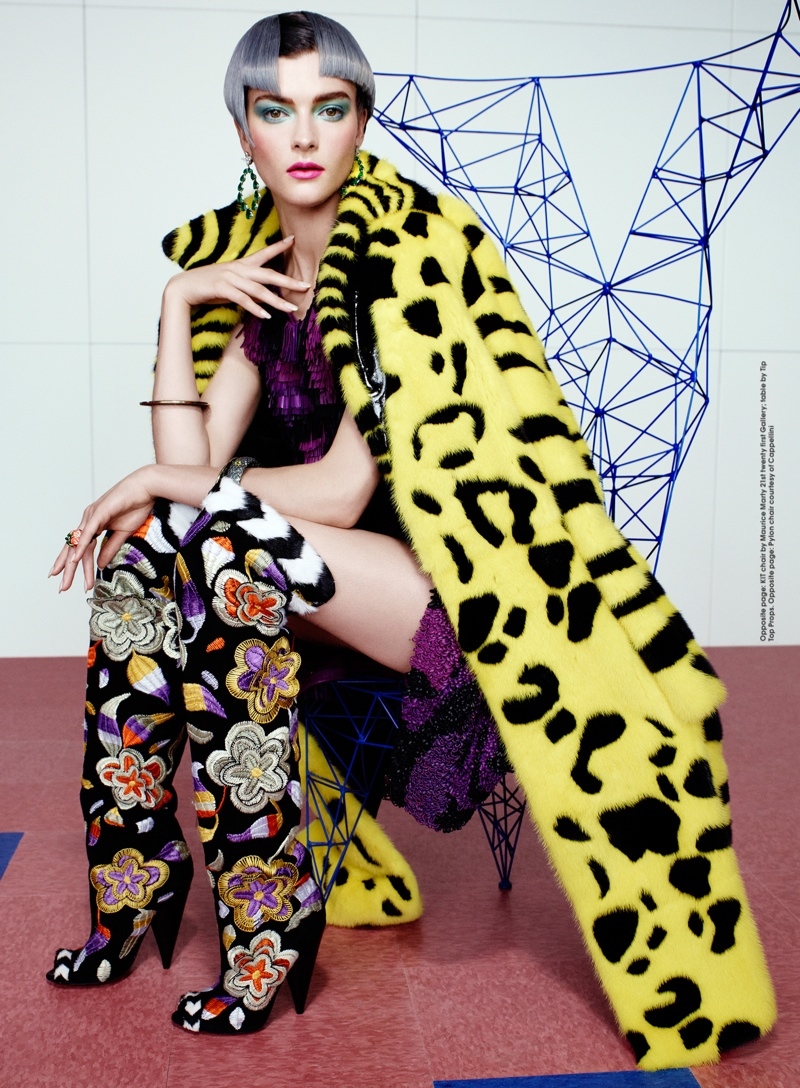 rainbow catherine servel8 Zen Sevastyanova Gets Colorful for Elle October 2013 by Catherine Servel