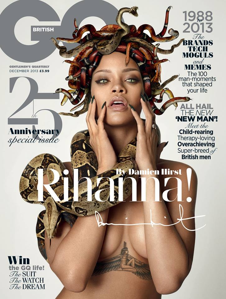 Rihanna Channels Medusa for GQ UK December 2013 Cover