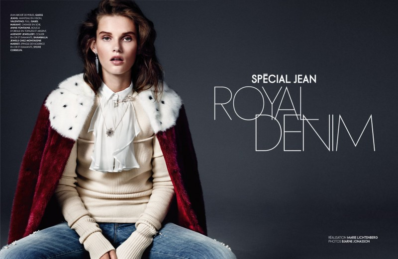 royal denim1 800x522 Giedre Dukauskaite is Royal Casual for Elle France by Bjarne Jonasson