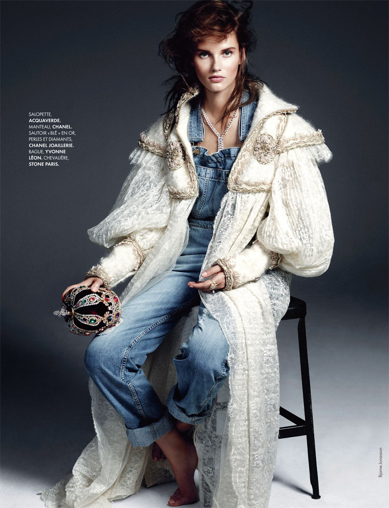 royal denim4 Giedre Dukauskaite is Royal Casual for Elle France by Bjarne Jonasson