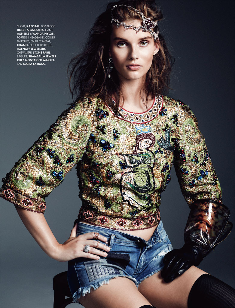 royal denim8 Giedre Dukauskaite is Royal Casual for Elle France by Bjarne Jonasson