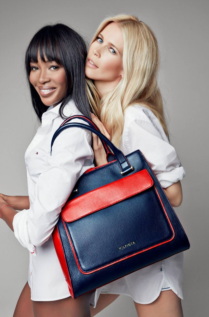 tommy breast health campaign1 Naomi Campbell + Claudia Schiffer Pose for Tommy Hilfiger Breast Health International Campaign