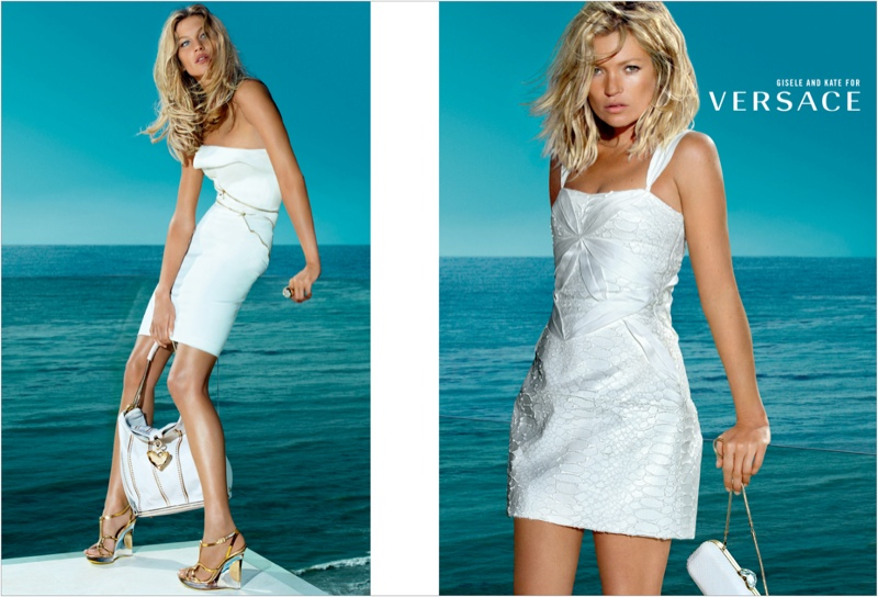 versace spring 2009 ads1 Throwback Thursday | Kate Moss & Gisele Bundchen for Versace Spring 2009 Ads