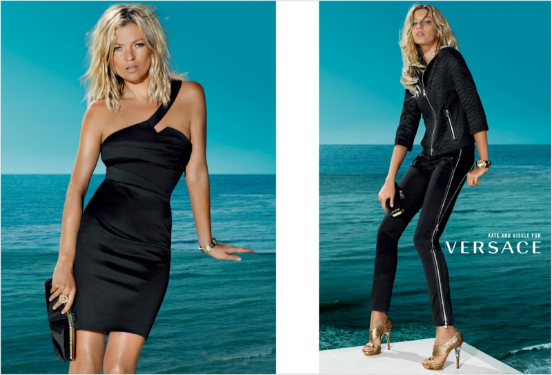versace spring 2009 ads2 Throwback Thursday | Kate Moss & Gisele Bundchen for Versace Spring 2009 Ads