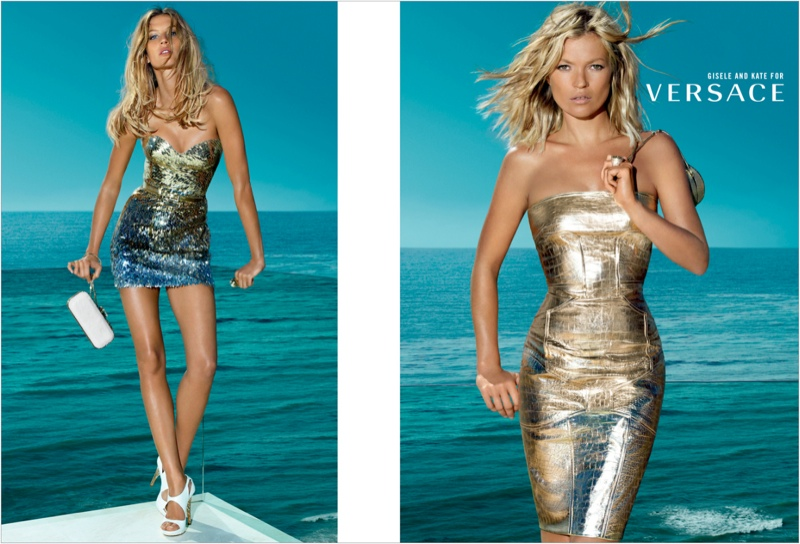 versace spring 2009 ads3 Throwback Thursday | Kate Moss & Gisele Bundchen for Versace Spring 2009 Ads