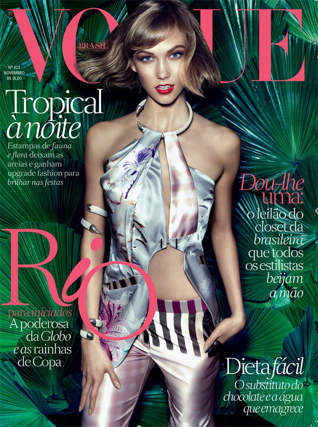 vogue animale karlie cover Karlie Kloss Gets Dark for Vogue Brazil July 2014 Cover