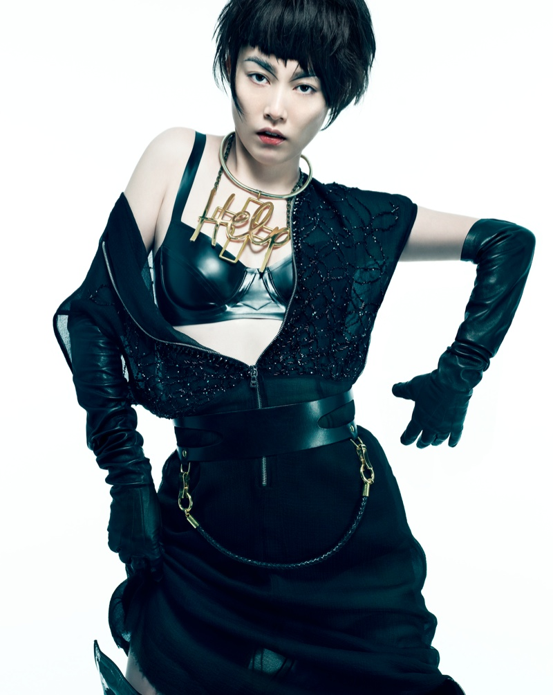 Rinko Kikuchi1 Rinko Kikuchi Wears Cutting Edge Style in Flaunt by Stevie and Mada