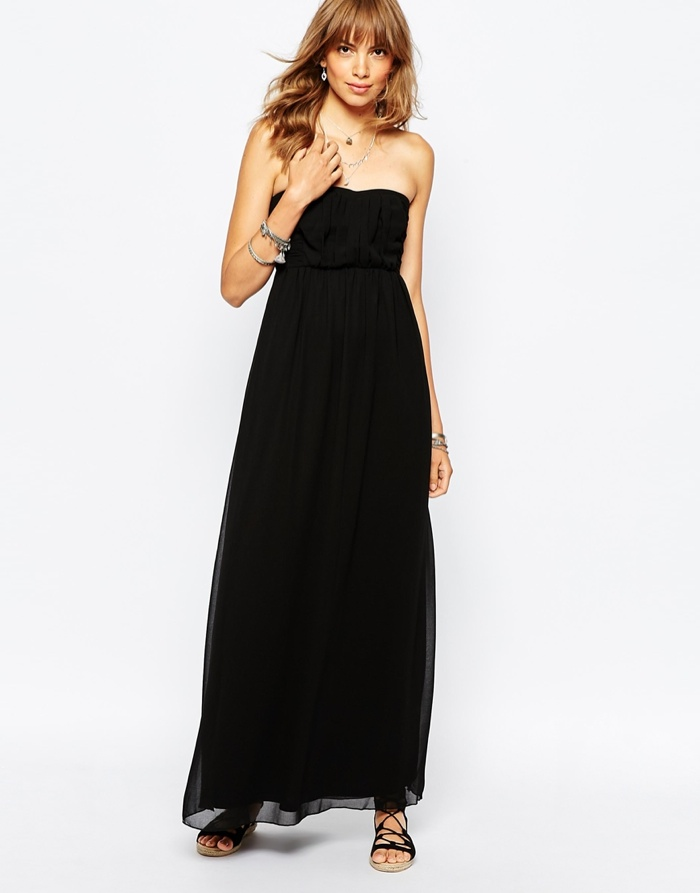 Vila-Bandeau-Maxi-Dress-Black