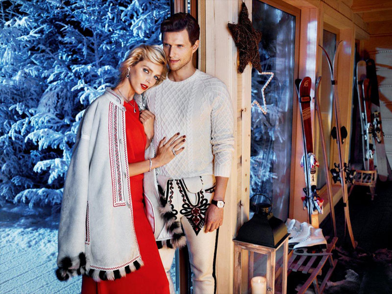 anja rubik apart christmas11 Anja Rubik Cozies up to Husband in Aparts Christmas 2013 Ads