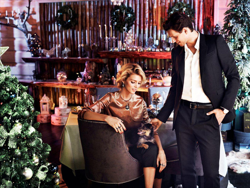 anja rubik apart christmas2 Anja Rubik Cozies up to Husband in Aparts Christmas 2013 Ads