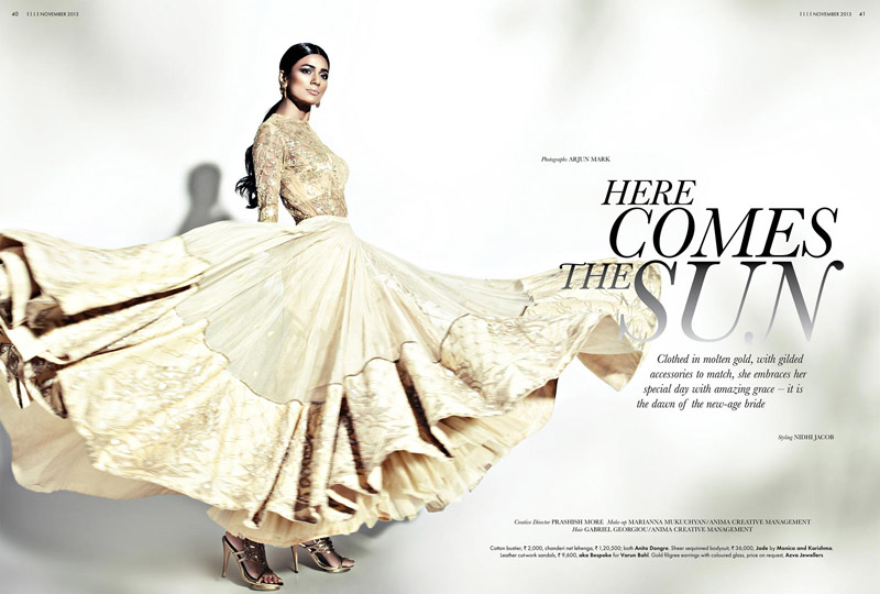 bridal fashion india2 Pallavi Singh Shines in Bridal Fashions for Elle India by Arjun Mark