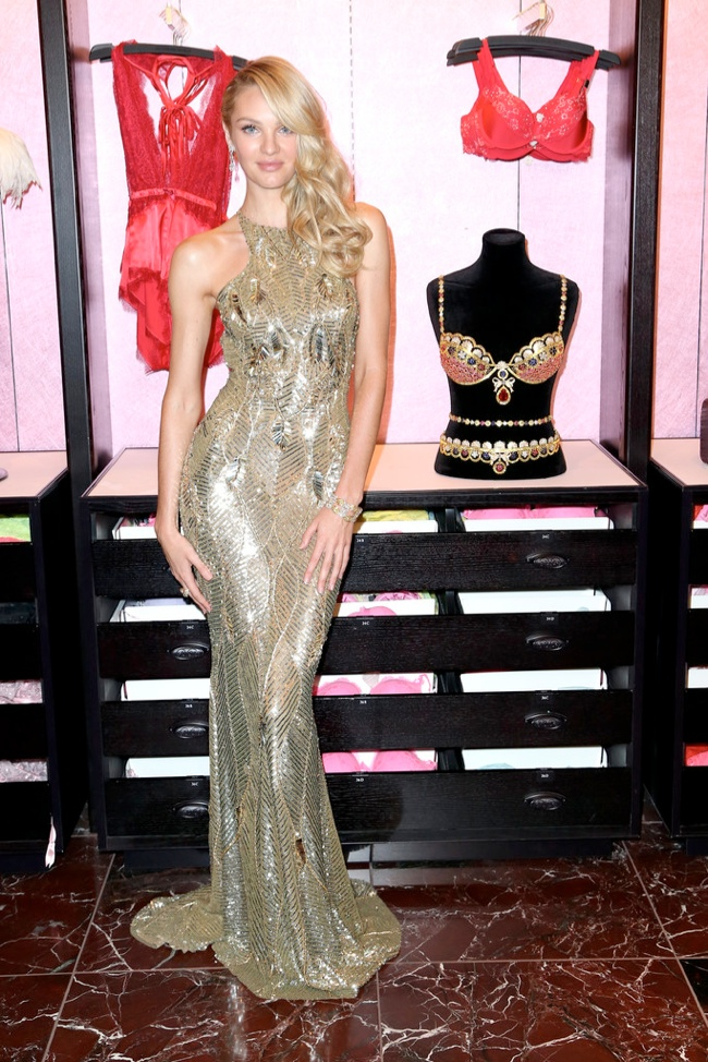 candice zuhair murad dress1 Candice Swanepoel Dazzles in Zuhair Murad at VS Fantasy Bra Event