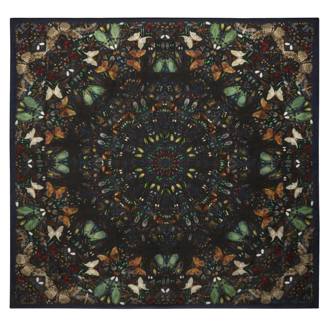 damien hirst mcqueen scarves4 New Collab: Damien Hirst & Alexander McQueen Launch Scarf Collection