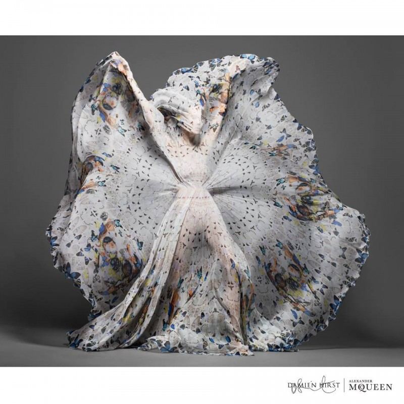 damien hirst mcqueen3 800x800 New Collab: Damien Hirst & Alexander McQueen Launch Scarf Collection