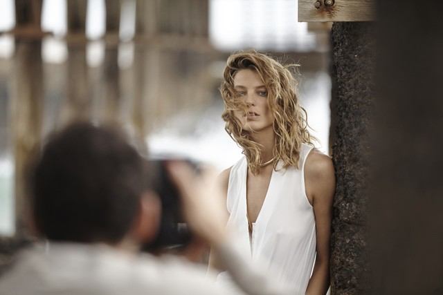 Daria Werbowy on set at upcoming spring Mango campaign