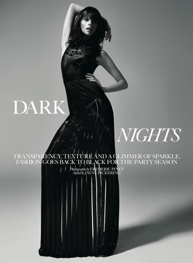 egle tvirbutaite model1 Egle Tvirbutaite Wears Nighttime Chic for Marie Claire UK by Fred Pinet