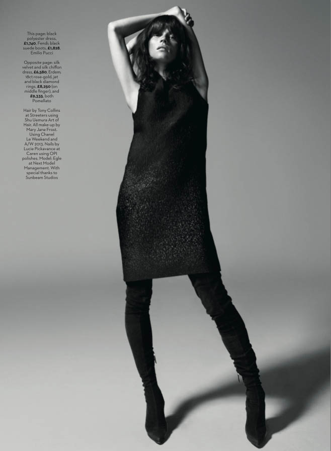 egle tvirbutaite model12 Egle Tvirbutaite Wears Nighttime Chic for Marie Claire UK by Fred Pinet
