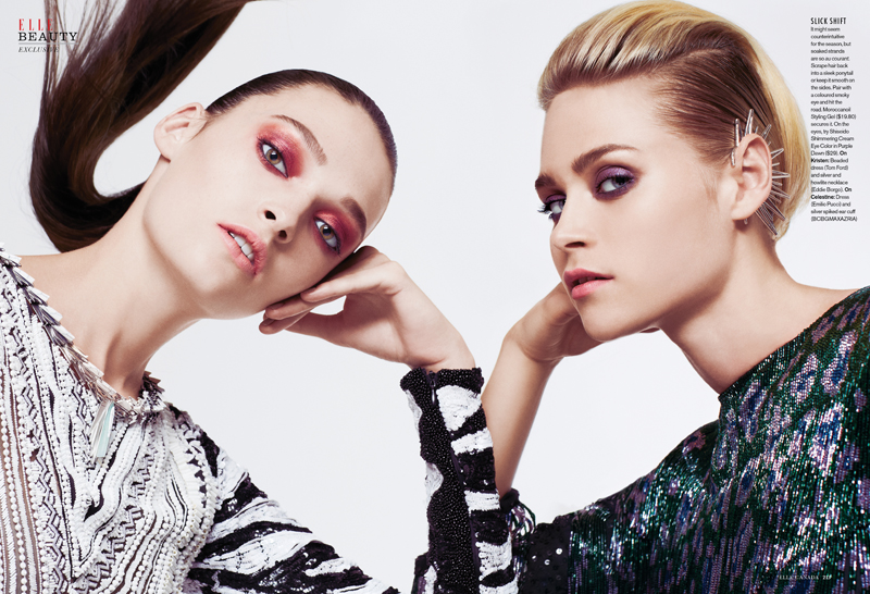 festive beauty2 Celestine & Kristen Model Festive Beauty for Elle Canada December 2013