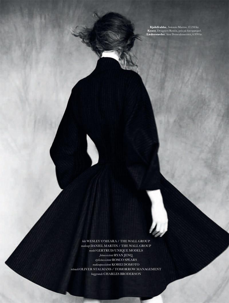 gertrud elle shoot10 Gertrud Hegelund Stars in Elle Denmark December 2013 Cover Story