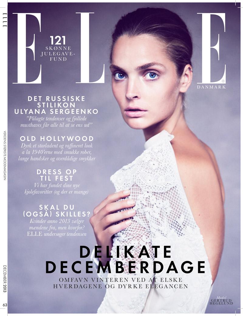 gertrud elle shoot12 Gertrud Hegelund Stars in Elle Denmark December 2013 Cover Story