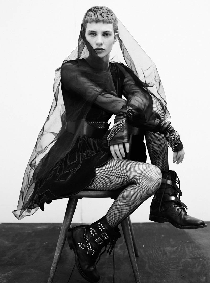 harmony boucher1 Harmony Boucher Wears Cutting Edge Style for Thomas Whiteside in Elle UK