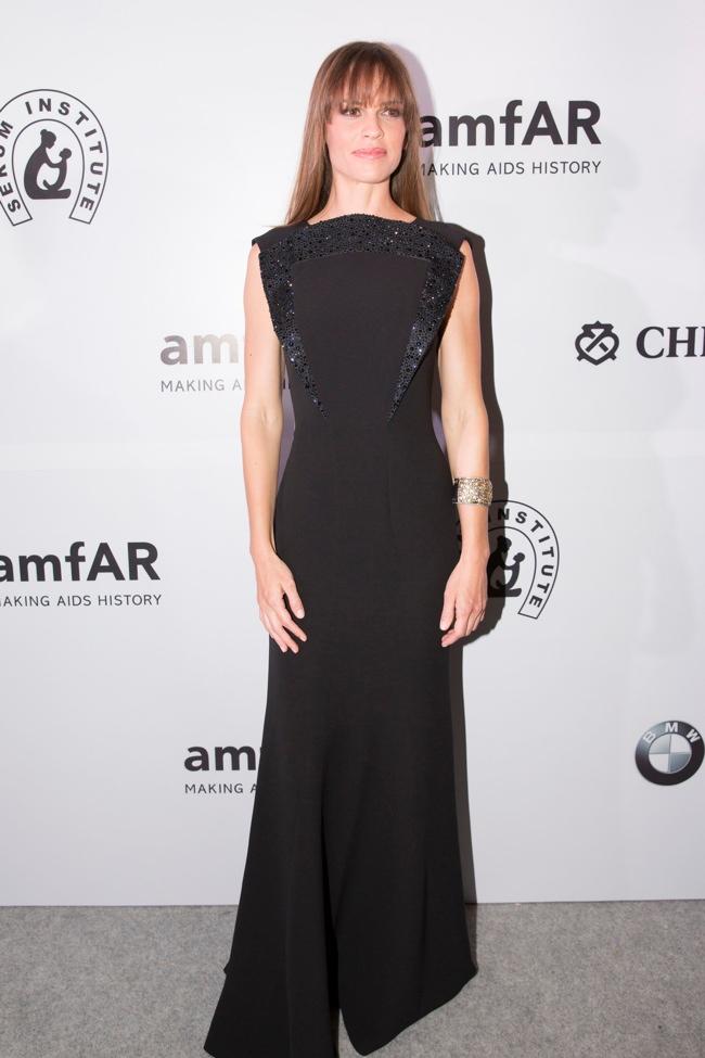 Hilary Swank Wears Giorgio Armani at the Inaugural amfAR India Event