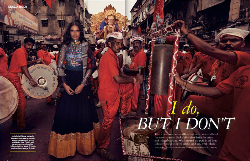 indian wedding grazia1 Preeti Dhata Models Indian Wedding Couture for Grazia Spread