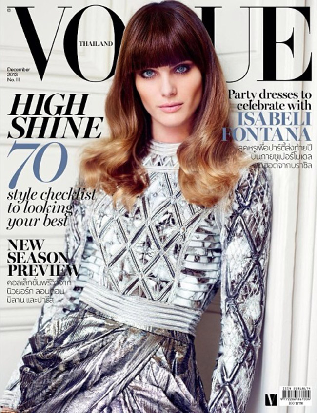 isabeli balmain Isabeli Fontana Shines in Balmain for Vogue Thailand December 2013 Cover