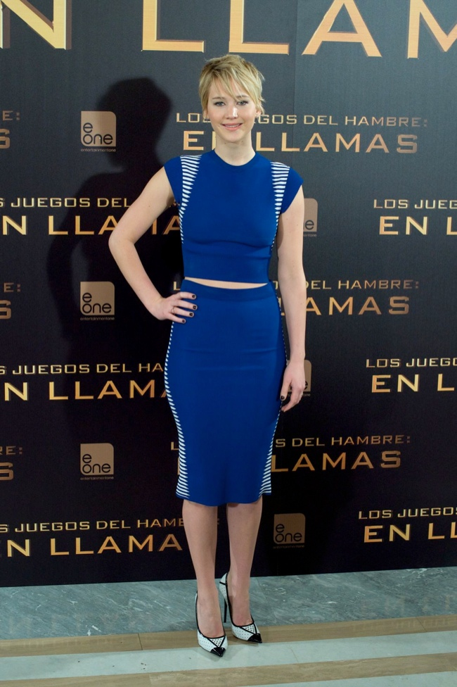 "Jennifer Lawrence in Alexander McQueen at ""The Hunger Games"" Madrid Photocall"