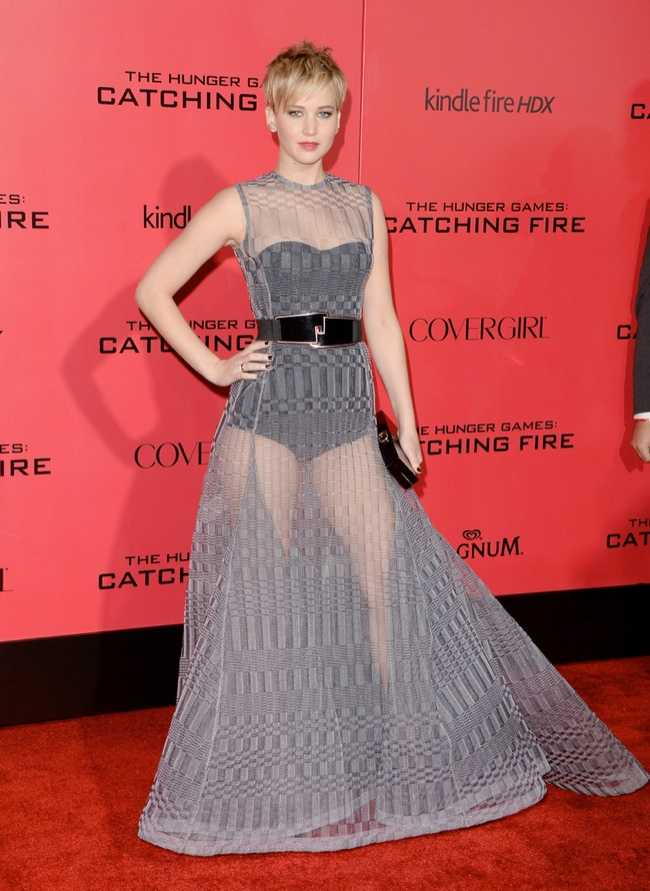 jennifer lawrence sheer dior1 Jennifer Lawrence Goes Sheer in Dior at The Hunger Games LA Premiere