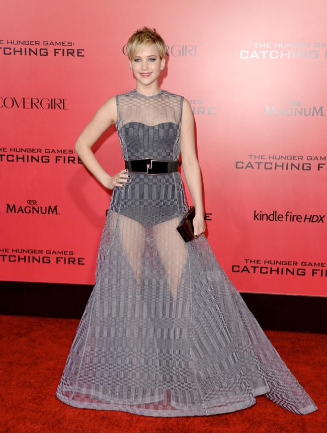 jennifer lawrence sheer dior2 Jennifer Lawrence Goes Sheer in Dior at The Hunger Games LA Premiere