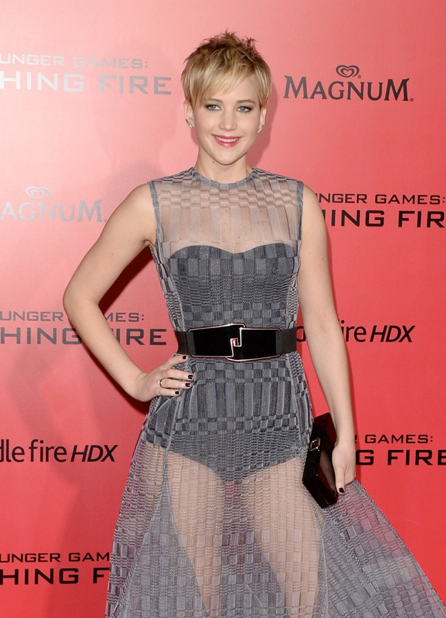 jennifer lawrence sheer dior3 Jennifer Lawrence Goes Sheer in Dior at The Hunger Games LA Premiere