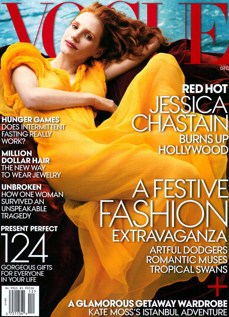 Jessica Chastain covers Vogue December 2013 issue. Image courtesy of Fashionscansremastered/Vogue
